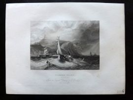 After Bentley 1834 Antique Print. Scarborough Castle, Yorkshire. Ships